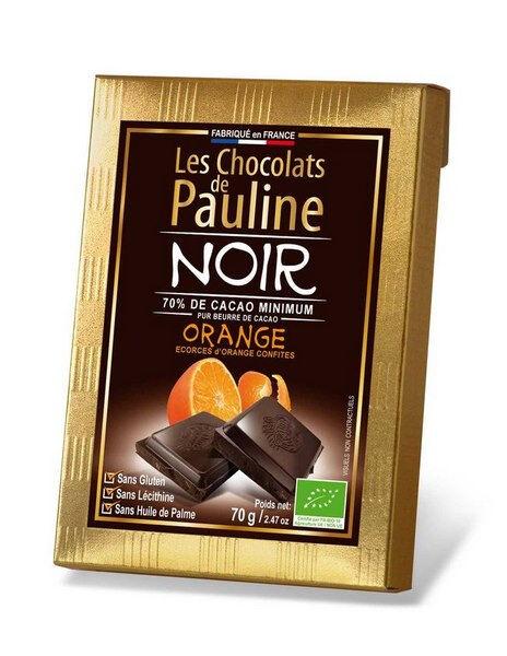 Sana Vita Tablette de chocolat noir 70% de cacao , écorces d'oranges...