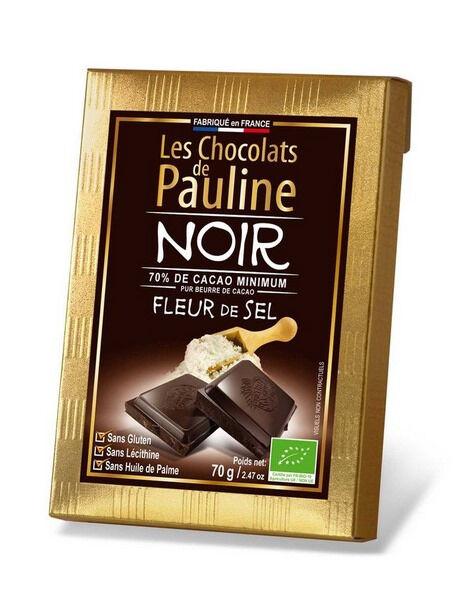 """Sana Vita Tablette de chocolat noir 70% de cacao, """"Fleur de sel"""", 70 g"""