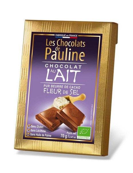 Sana Vita Tablette de chocolat de couverture au lait à la fleur de sel, 70 g