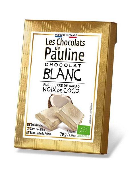 Sana Vita Tablette de chocolat blanc à la noix de coco, 70 g