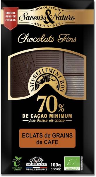 Sana Vita Tablette de chocolat noir 70% de cacao et éclats de grains de...