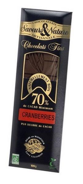 Sana Vita Tablette de chocolat noir 70% de cacao aux cramberries (airelles)...