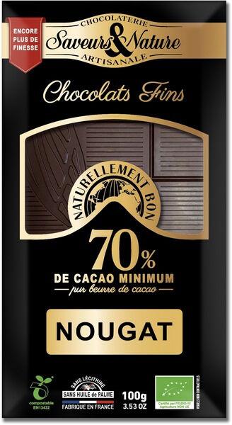 Sana Vita Tablette de chocolat noir 70% de cacao au nougat de Montélimar,...