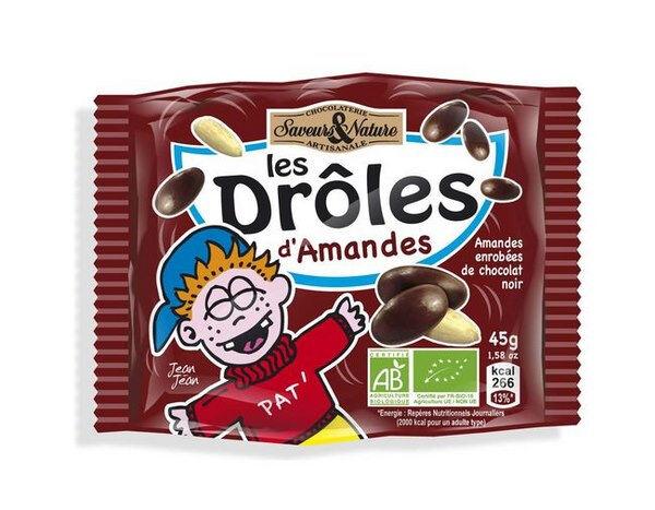 Sana Vita Drôles d'amandes enrobées de chocolat noir, 45 g