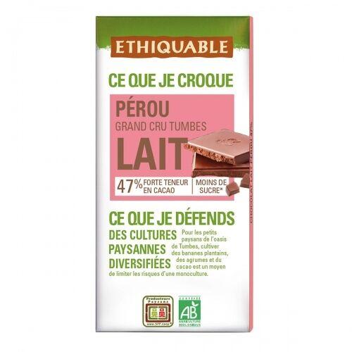 ETHIQUABLE Chocolat au lait 47% Grand Cru Pérou bio & équitable