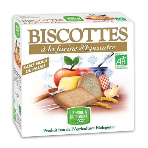 LE MOULIN DU PIVERT Biscottes à la farine d'épeautre bio & vegan