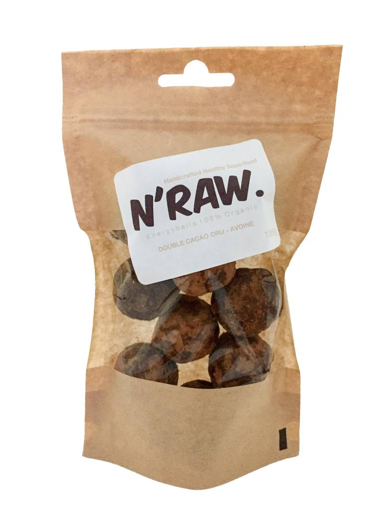 N'raw Energyballs Double Cacao Cru - Avoine 140g