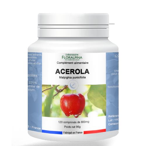 Rue Des Plantes Acérola 120 comprimés, extrait d'acérola 720mg (vitamine C...