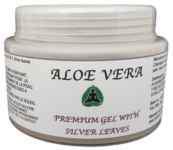 Ayushkar Diffusion Aloe Vera Premium Gel, feuilles d'argent, 100% naturel - 100G