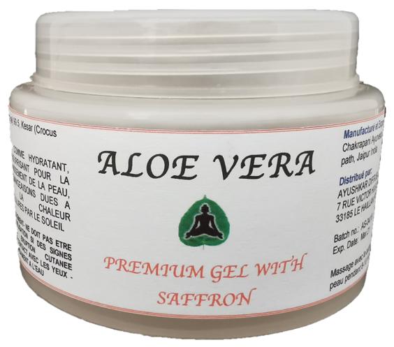 Ayushkar Diffusion Aloe Vera Premium Gel, fragrance safran, 100% naturel - 100G