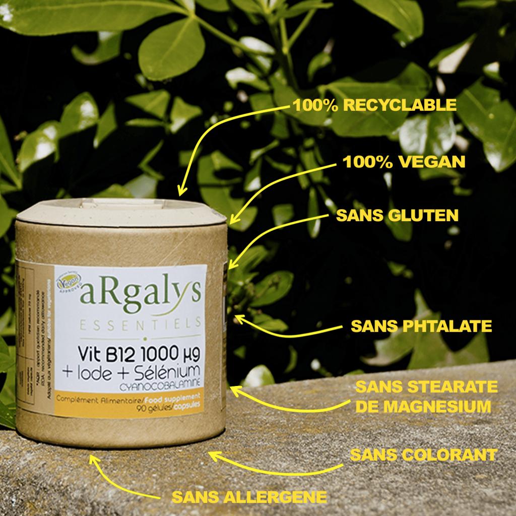 ARGALYS Vitamine B12 + Iode - Vegan - 60 gélules - Complément...
