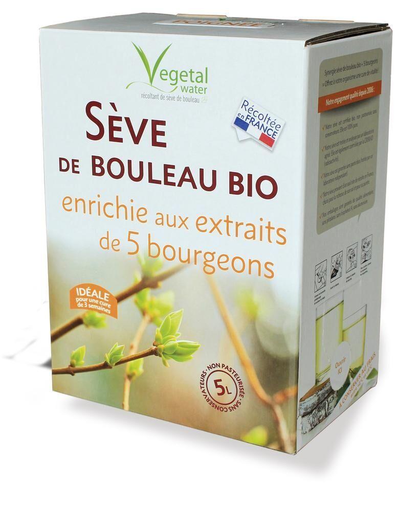 Vegetal Water SEVE DE BOULEAU NON PASTEURISEE - enrichie aux 5 bourgeons - 5L