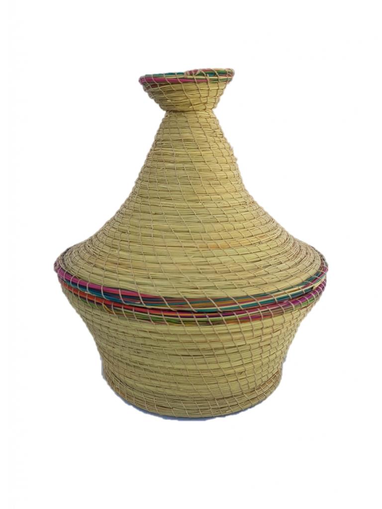 Comptoir D'ailleurs Boite de rangement forme tajine en fibre végétale (halfa).