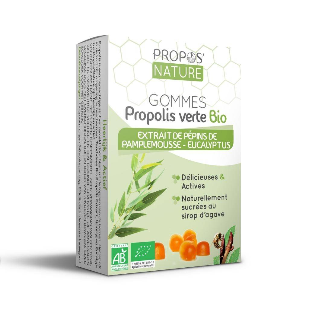 Propos'nature Gommes Propolis verte BIO, EPP et Eucalyptus (certifiées AB) - 45 g