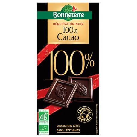 BONNETERRE Chocolat Noir 100% Cacao 70g -Bonneterre