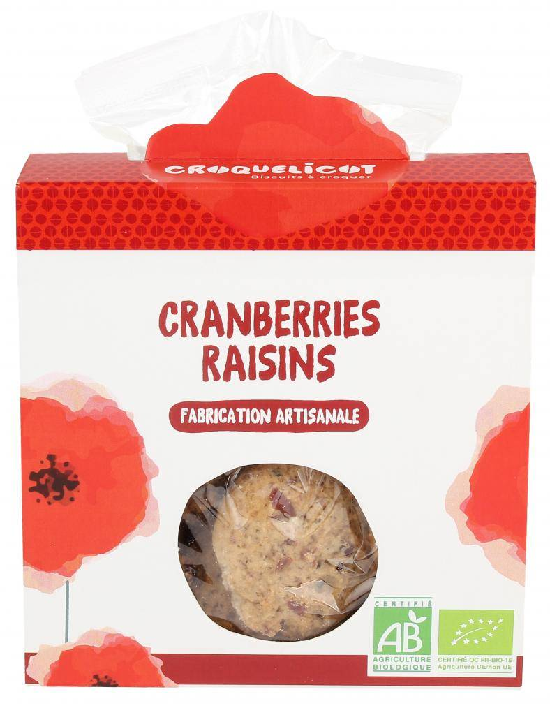 Croquelicot Biscuits Cranberries Raisins, biologique, CROQUELICOT