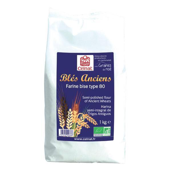 CELNAT Farine de blés anciens bise t80 1kg  CELNAT