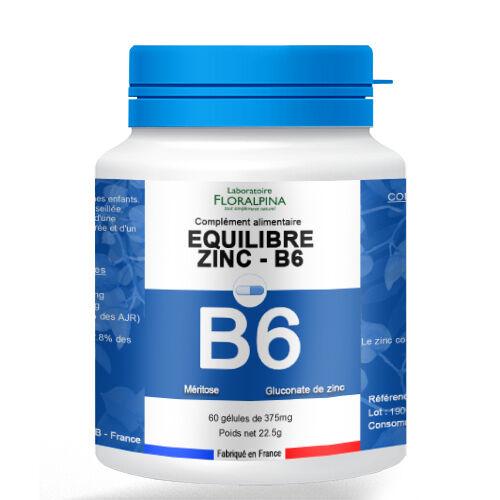 Rue Des Plantes Equilibre - Zinc/B6 - 60 gélules, la vitamine B6 contribue à un...