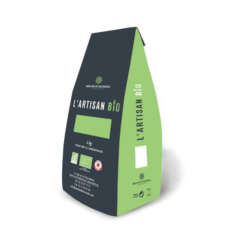 Biorgania Farine de blé T65 BIO 1kg Ile-De-France - L'Artisan Bio