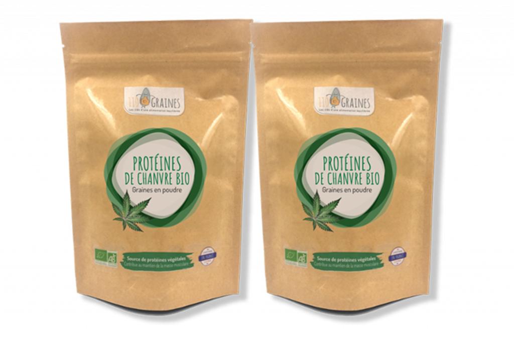 110 Graines Lot de 2 protéines de chanvre - 2 x 200 g - 110 Graines