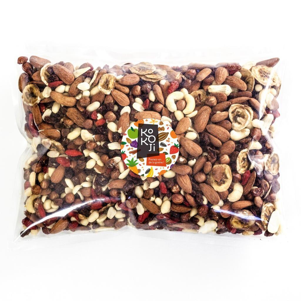 Kokoji Mélange de fruits secs Sportif bio 1 kg : amande, raisin sec,...