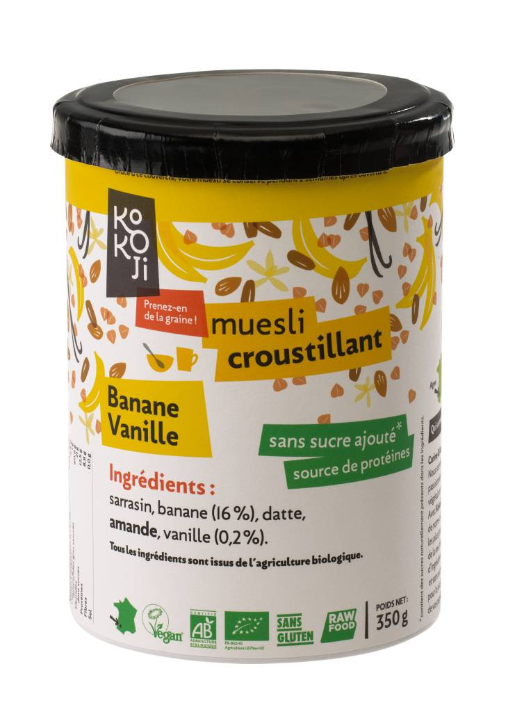 Kokoji Muesli croustillant Bio Banane Vanille (granola) - 350g - sans gluten