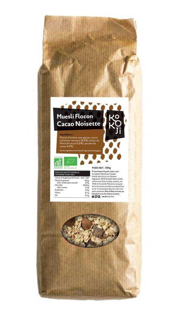 Kokoji Muesli flocon Bio KoKoji Cacao Noisette - 400g - Avoine sans...
