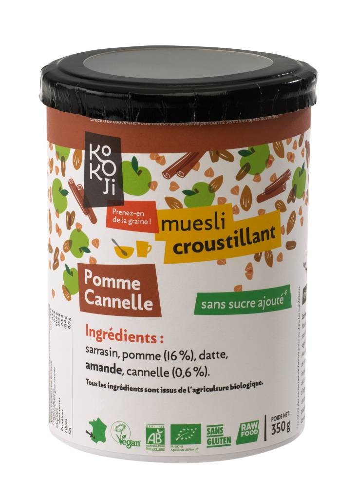Kokoji Muesli croustillant Bio Pomme Cannelle (granola) - 350g - sans gluten