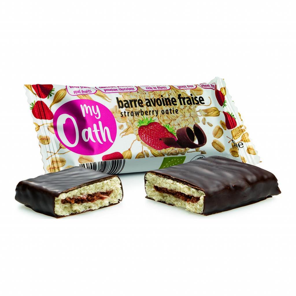 Lechoppebio Barre Avoine-Fraise enrobée de chocolat Bio 50g - My Oath