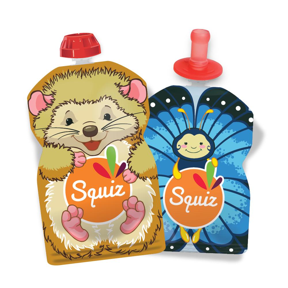Squiz Lot de 2 gourdes réutilisables 90ml - collection bébés nature +...