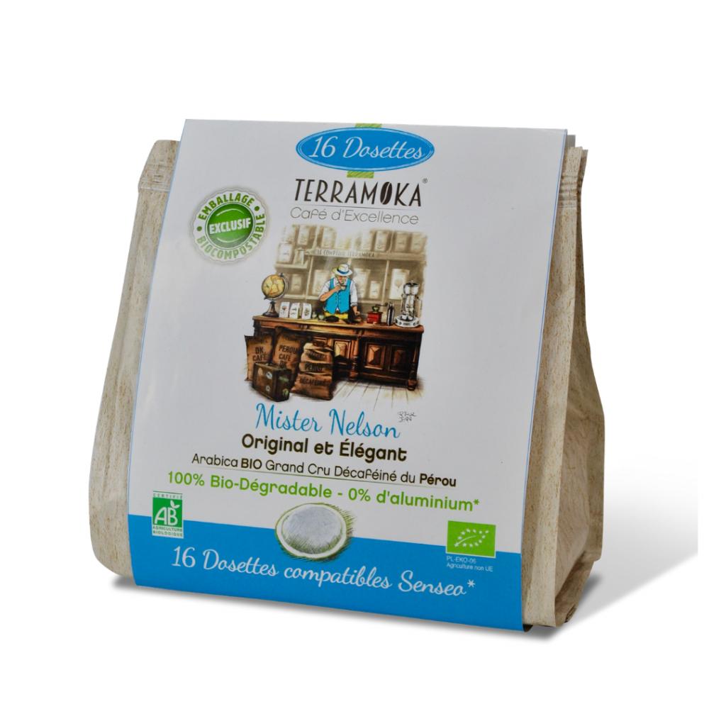 TERRAMOKA Nelson - 16 dosettes type Senseo® Décaféiné - 100% Arabica du...