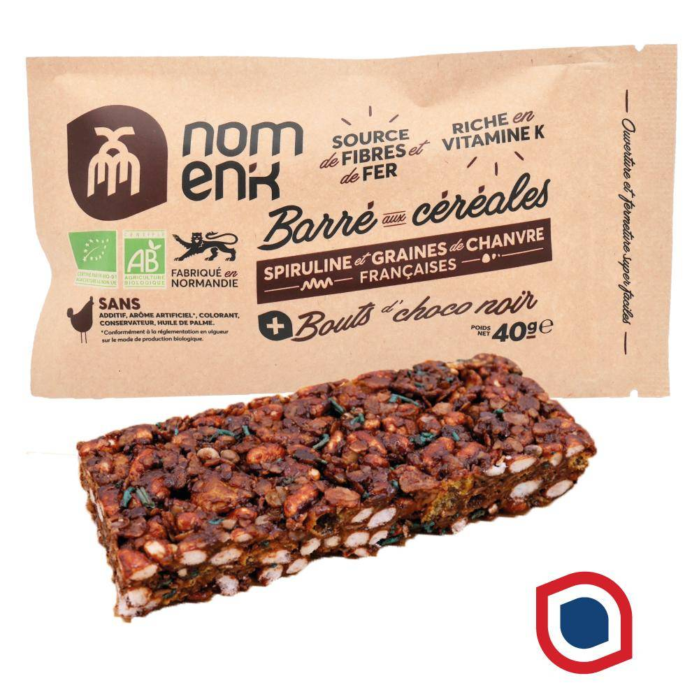 Nomen'k - Les Super-encas ! Barré aux céréales - chocolat noir + spiruline et chanvre 100%...