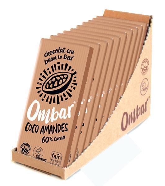 Lechoppebio Lot 9+1 Chocolats Crus Coco - Eclats d'Amandes 70g Bio - Ombar