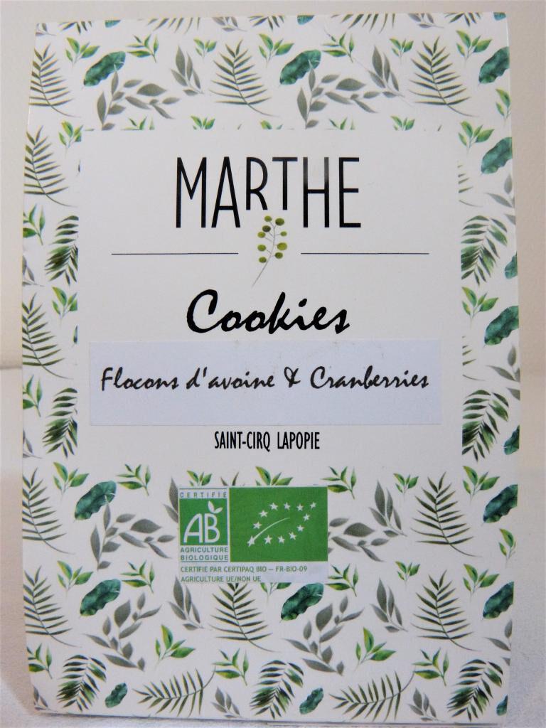 Marthebio Cookies Bio Flocons d'avoine Cranberries 150g