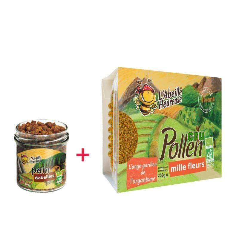 Abeille Heureuse Paquet: Pain d'abeilles BIO 100 g + Pollen Cru Mille Fleurs Bio...