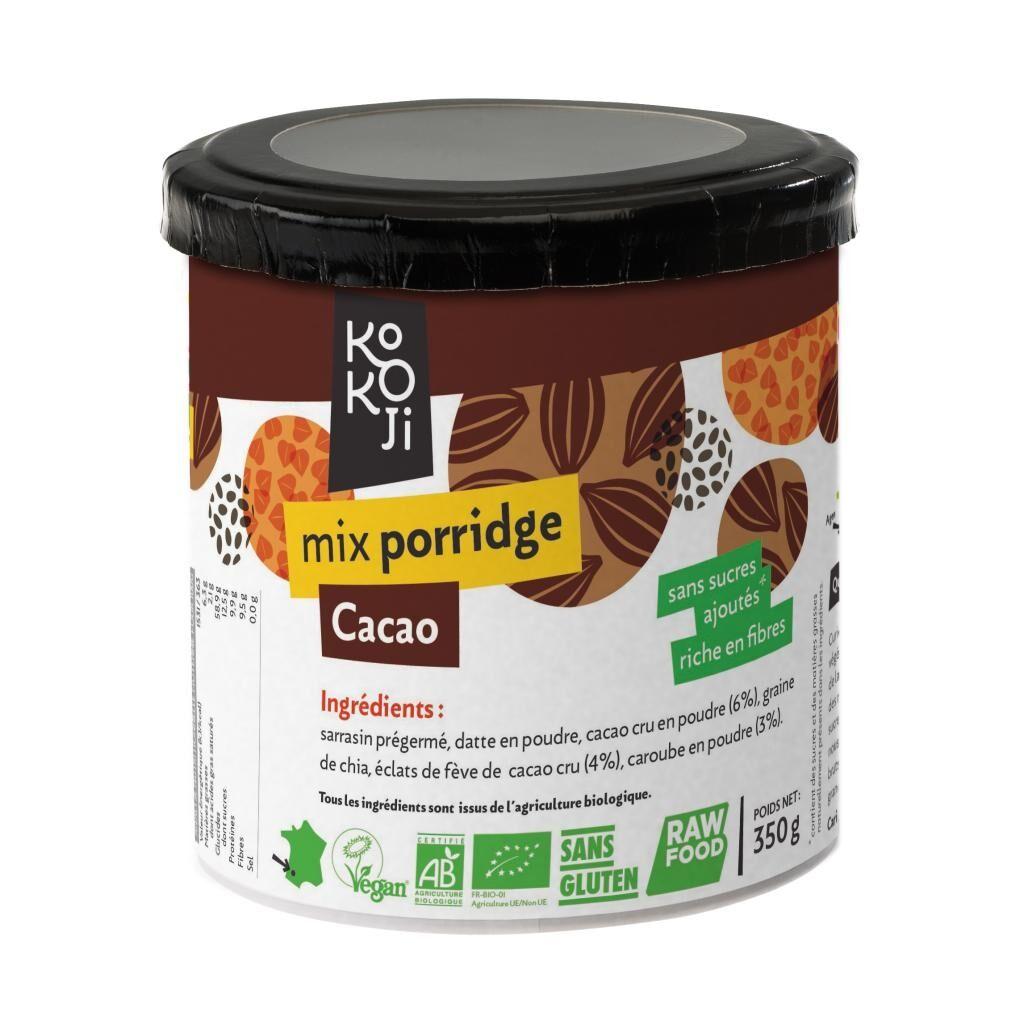 Kokoji Mix Porridge Cacao Bio KoKoji - 350g - Sans gluten - Sans sucre ni...
