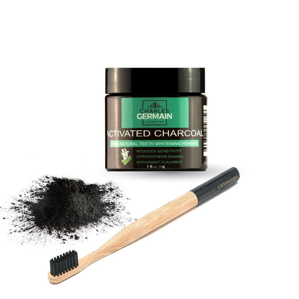 Charles Germain Cosmetics Brosse à dents en bambou et poudre au charbon actif blanchissante