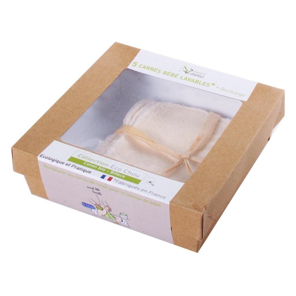 LES TENDANCES D'EMMA 5 carrés bébé réutilisables en coton bio biface - gamme eco...