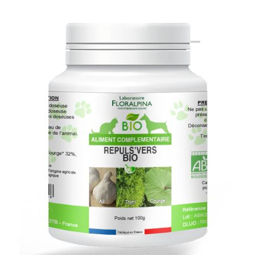 ECOCERT Répuls'VERS Bio 100g, vermifuge naturel pour chien et chat