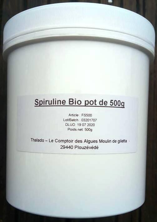 Le Comptoir Des Algues Poudre de SPIRULINE Bio en pot de 500 g
