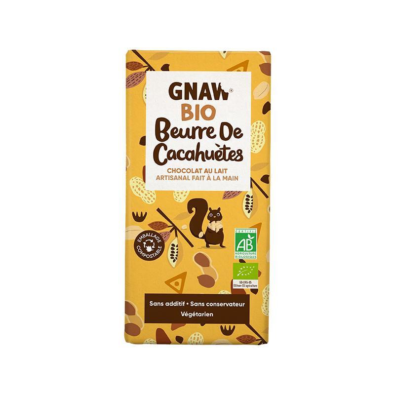 Biorgania Tablette au chocolat au lait beurre de cacahuètes BIO 100g - Gnaw