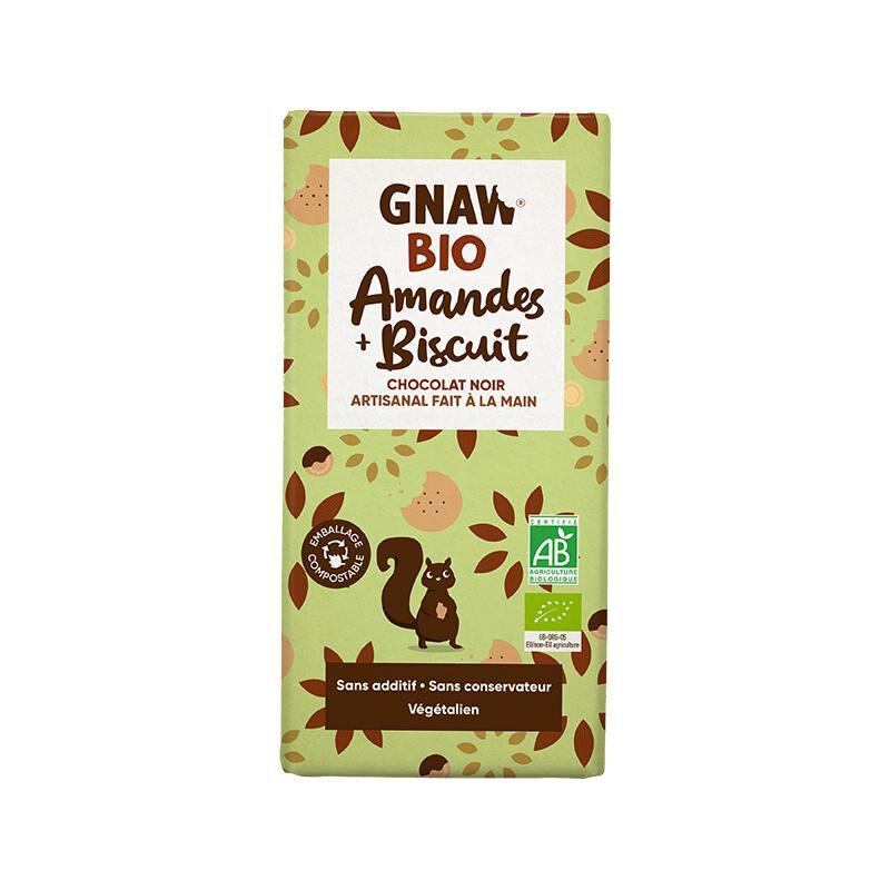Biorgania Tablette au chocolat noir amandes biscuit BIO 100g - Gnaw