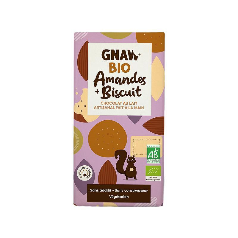Biorgania Tablette au chocolat au lait amandes biscuit BIO 100g - Gnaw