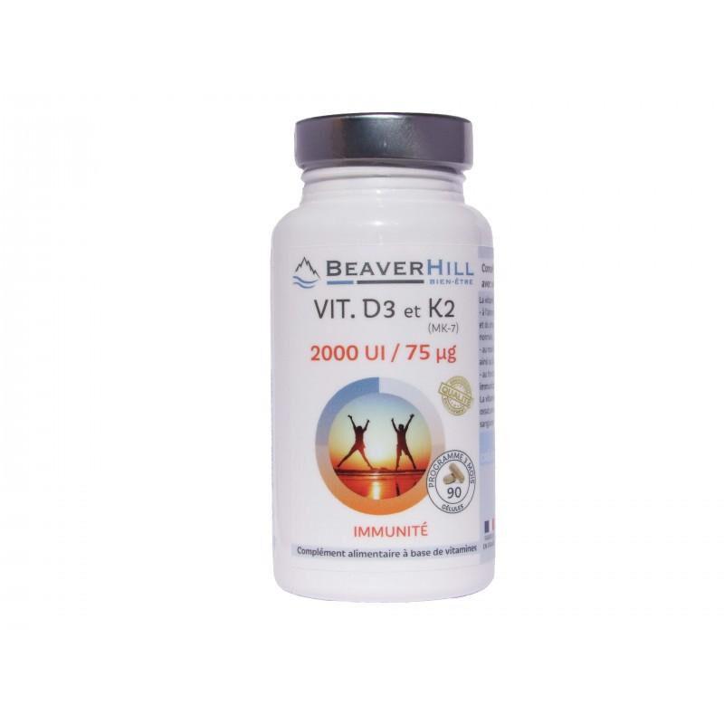 Beaverhill Vitamine D3 - 2000 UI et Vitamine K2 - 75 µg - IMMUNITE