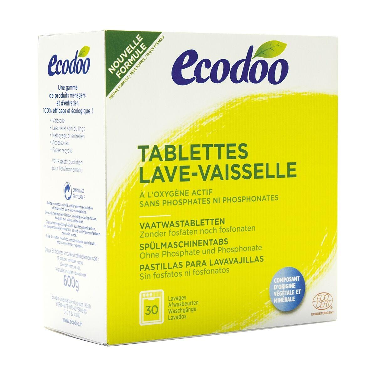 ECODOO Tablettes lave-vaisselle écologiques hydrosolubles à l'oxygène...
