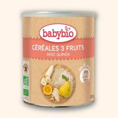 BABYBIO Céréales 3 Fruits avec Quinoa 220g-Babybio