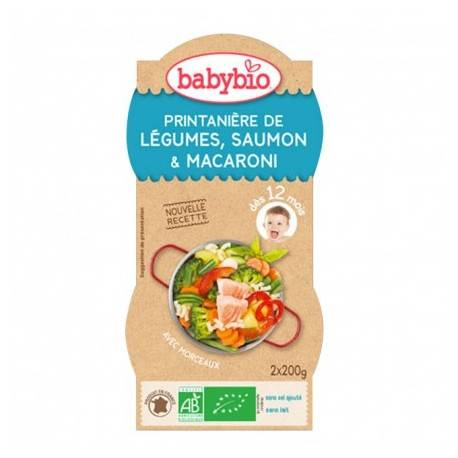 BABYBIO Printanière de Légumes, Saumon, Macaroni - 2x200gr - Babybio