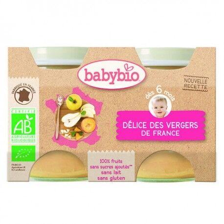 BABYBIO Délice des Vergers de France - 2x130gr - Babybio