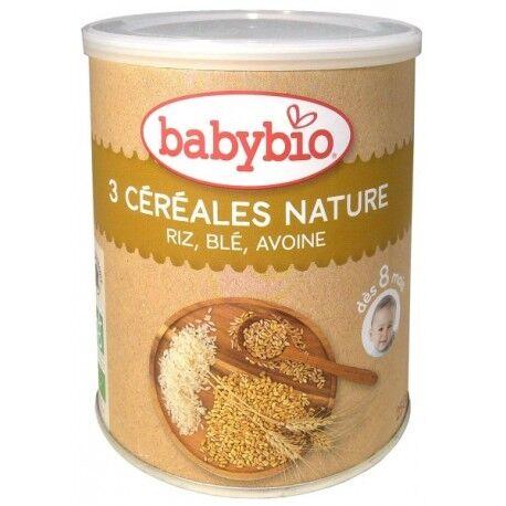 BABYBIO 3 Céréales Nature Riz, Blé, Avoine - 250gr - Babybio