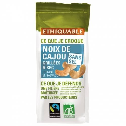 ETHIQUABLE Noix de Cajou Grillées à Sec SANS SEL 100g bio & équitable